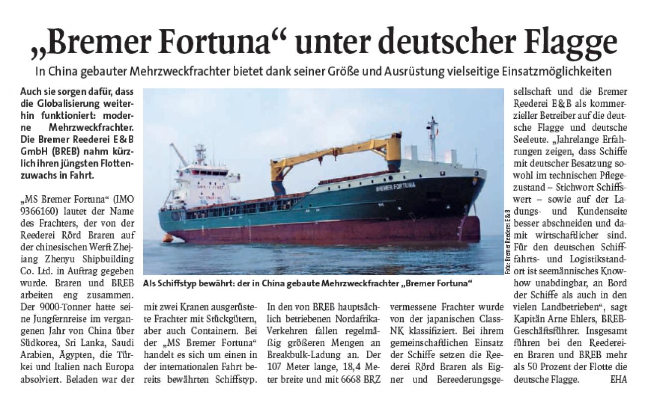 """""""Bremer Fortuna"""" unter deutscher Flagge"""